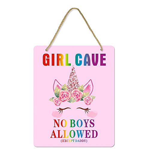 Uflashmi Girl Bedroom Decor Girl Cave Sign No Boys Allowed Except Dad Sign, Little Baby Girl Room Decor, 8X10 Inch