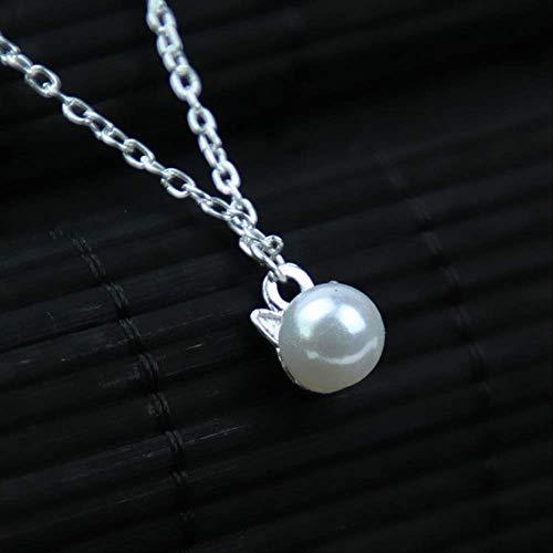 Frau Süße Tier Katze Kopf Muster Imitation Perle Anhänger Halskette Mädchen Mädchen Einfache Klassische Schmuck Kleine Halskette Halskette X260 Einstellbar X260