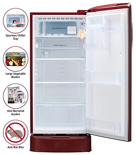 LG 190L 5 Star Direct-Cool Smart Inverter Single Door Refrigerator (GL-D201ASPZ, Scarlet Plumeria, Base stand with drawer) 3