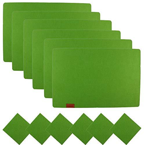 Famibay Set 6 Tovagliette in Feltro e Sottobicchieri Lavabili Tovagliette Americana Antimacchia Verde