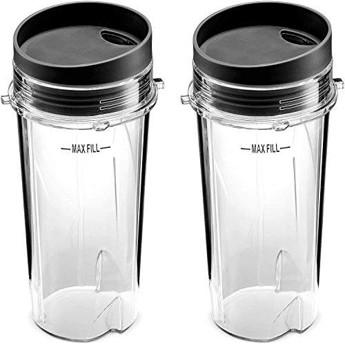 Best Accessories BA-NNJ16OZ/2 Ninja Single Serve 16-Ounce Cup Set for BL770 BL780 BL660 Professional Blender (Pack of 2), 16 Ounce, Clear