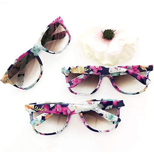Bride Tribe Sunglasses Floral Pattern Set of 7 | Bachelorette Sunglasses for Bridesmaid Proposal Box & Bridal Shower Decorations Kit | Bachelorette Party Favors & Wedding Bridesmaids Gifts Glasses