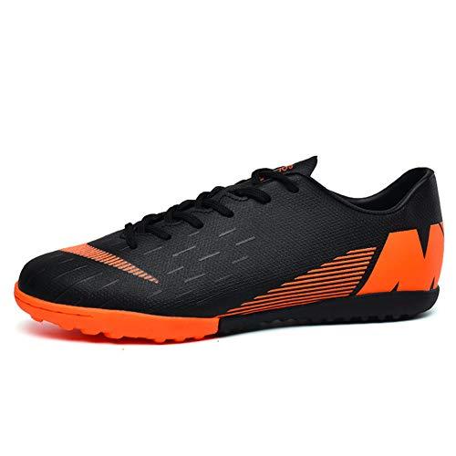 TYX Calzado De Fútbol para Niños, Zapatos De Entrenamiento De Fútbol Planos Transpirables para Adolescentes, Zapatillas Deportivas Antideslizantes para Exteriores,Negro,39
