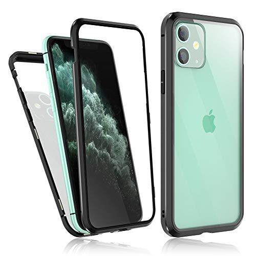 Bigmeda iPhone 11 Hülle 360 Grad, iPhone 11 Magnet Vollbildabdeckung Gehärtetes Glas Handyhülle mit Panzerglas Rückseite Vorne und Hinten Glas Case Cover für iPhone 11, 6.1 Zoll 2019 Schwarz