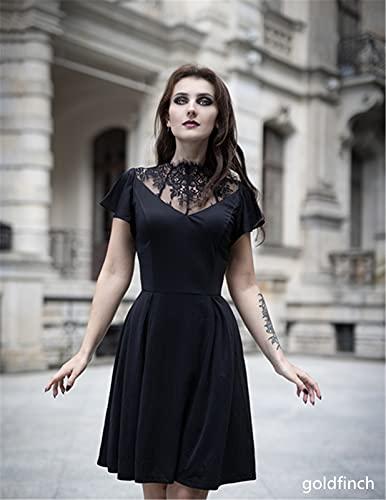 Womens Gothic Dress Lace Neck Flutter Sleeve Swing A-line Midi Dresses Black XL
