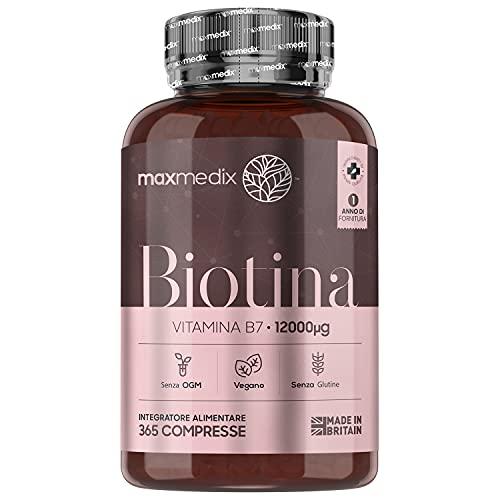 Biotina Capelli ad Alto Dosaggio 12000mcg - 365 Compresse Vegan (1 Anno di Fornitura) - Contribuisce al Mantenimento di Capelli e Pelle Normali - Per Uomo e Donna - Integratore Capelli Senza Glutine