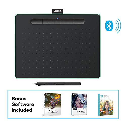 Wacom Intuos Wireless Graphic Tablet with 3 Bonus Software Included, 10.4' X 7.8', Black with Pistachio Accent (CTL6100WLE0)