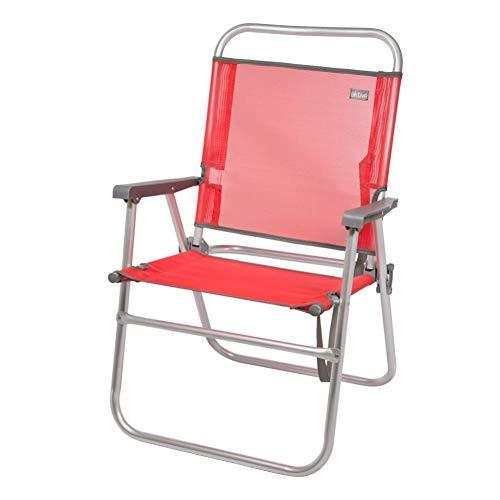 Aktive 53968 - Silla plegable fija aluminio 56 x 50 x 88 cm - rojo