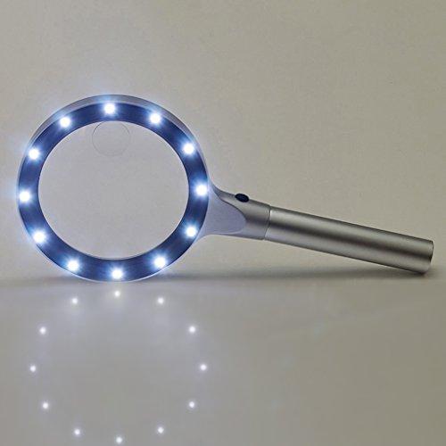 Leselupe 5X Lupe mit 12 LED Licht zum Lesen Beleuchtete Handlupe Juwelierlupe Vergrößerungsglas für Senioren, Bücher, Zeitungen, Hobby und Handwerk - 2