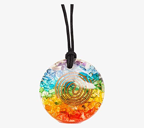 Orgone Chakra Pendant Necklace Healing Stones for Emf Protection - Healing Crystals Chakra Necklace - Crystal Jewelry for Women - Chakra Stones Based Crystal Pendant Necklace for Men