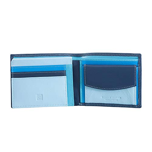 DUDU Portafoglio multicolore in pelle classico da uomo RFID firmato Blu