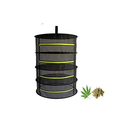 4 Capa de Malla para Colgar Red de Secado Malla Secado Hierbas Aromáticas con Cremalleras, Bolsa de Transporte Incluida, Negro Verde Fluorescente
