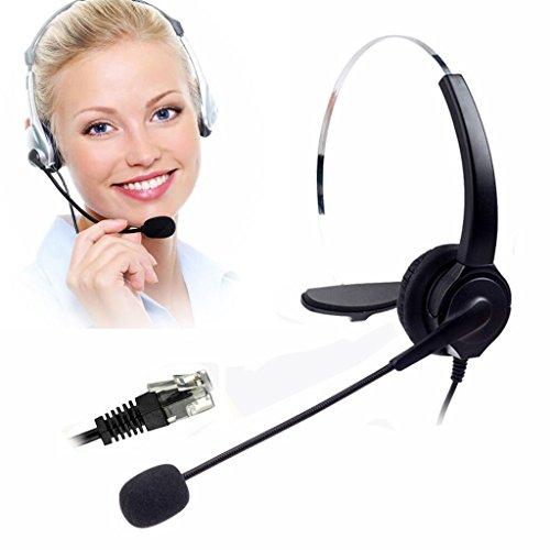 IPOTCH VH530 Teléfono con Auricular de Escritorio para Centro de Llamadas Manos Libres con Adaptador RJ9 de 4 Pines
