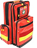 Mochila de primeros auxilios para deporte, ocio y eventos, material de lona rojo y rayas reflectantes amarillas
