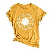 Camiseta de manga corta para mujer, estilo informal, con estampado de flores, cuello redondo, color liso amarillo XXXL