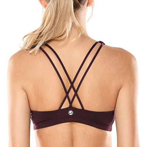 CRZ YOGA Donna Imbottito Reggiseno Sportivo Yoga Spalline Incrociate Top Senza Ferretto Cioccolato XS