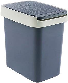 C-J-Xin Toilet Bin, Home with Cover Push Trash Can Bedroom Kitchen Garden Trash Bin Plastic Trash Can Capacity: 6L,12L Hig...