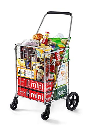 Wellmax WM99024S Grocery Utility Shopping Cart, Easily Collapsible and Portable to Save Space and Heavy Duty, Light Weight Trolley with Rolling Swivel Wheels