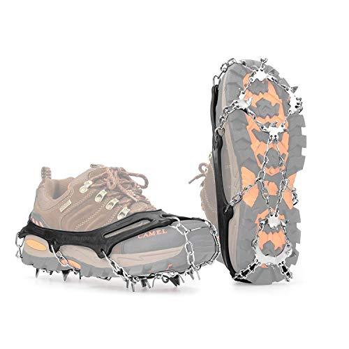 Steigeisen für Bergschuhe Schuhspikes Anti-Rutsch Schuhkrallen , Spikes für Schuhe mit 19 Edelstahl Zähne Spikes für Winter High Altitude Wandern Bergsteigen auf Schnee Gletscher Klettern Trekking(L)
