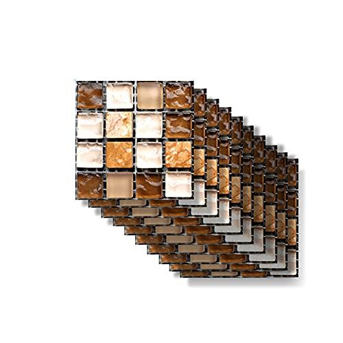 Hiseng Rectángulo Adhesivos Decorativos Azulejos Pegatinas para Baldosas del Baño, Mármol 3D Mosaico Estilo Cocina Resistente al Agua Pegatina de Pared, 10x10cm (Vidrio marrón,10Piezas)