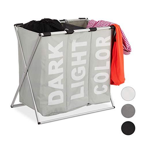 Relaxdays, grijze 3-delige wasgoed-sorteerder, klapframe, afzonderlijke waszak, 3 vakken, 90 liter, XXL wasmand, hoekig, standaard