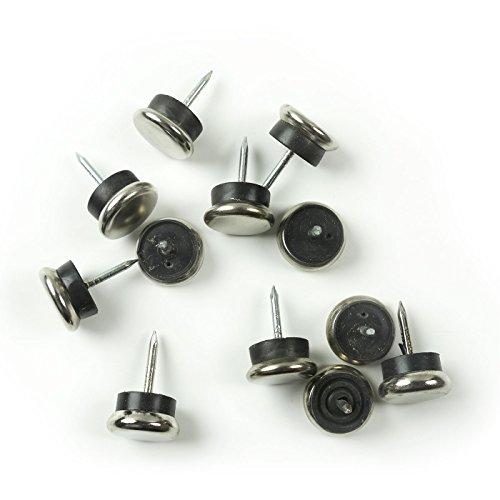 Metallgleiter mit Nagel und Gummipuffer, 18 mm, Ø 5 mm dick - 12 Stück