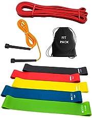 Trainingsset (8-in-1) weerstandsband + elastische fitnessbanden + springtouw + rugzak, gym thuis (zittraining, benen, rugarm, vetverbranding).