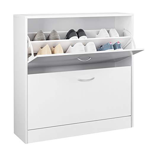 HOMFA Schuhschrank Schuhregal Schuhkommode 2 Schuhablagen pro Schuhkipper bis zu 12 Schuhe 80x23,5x80cm (Schuhschrank mit 2 Fächern)