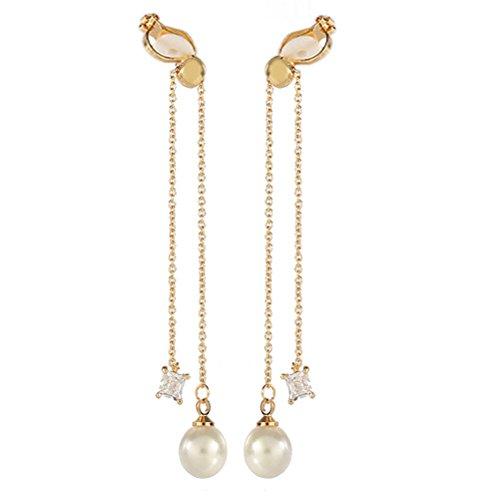 Doppel Quaste simulierte Pearl Clip on Ohrring baumeln für Non Pierced Zirkonia Kristall Gold Tone