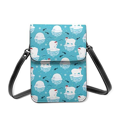 Lindo oso polar en sombreros de Santa Navidad ligero Crossbody teléfono celular bolso para las mujeres amplios bolsillos bolsas