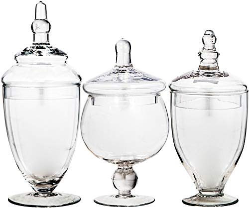Glass Candy Jars with Lids Clear Glass Apothecary Jars - Set of 3 - Wedding Candy Buffet Containers (Small, Clear)