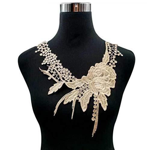 WOOAI Lace Fabric Trim DIY Nähkleid Kleidung Applique Motiv Bottom Bluse Emboridery DIY Ausschnitt Kragen Kostüm Dekoration, Kaffee