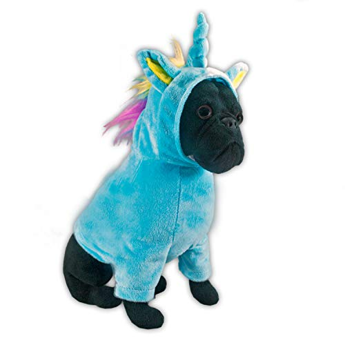 FGA MARKETPLACE French Bulldog Stuffed Animal, Realistic Looking Supersoft Plush Toy , Amazing Collection, A Huggable Keepsake for All Ages (Unicorn Outfit)