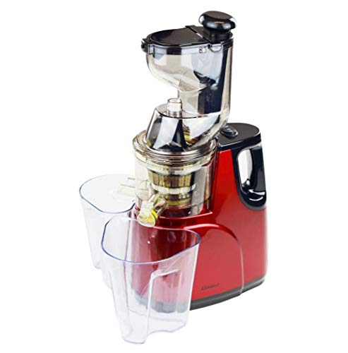Linnuo Entsafter Slow Juicer Obstpresse Saftpresse Frucht & Gemüsesaft Große Einfüllöffnung metallic ruhiger Motor (150W) rot schwarz