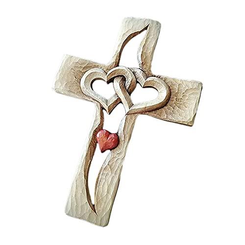 Qagazine Hand gesneden kruisbeeld muur kruis met holle verweven harten opknoping liefde paar familie muur decor 22,86 * 17cm