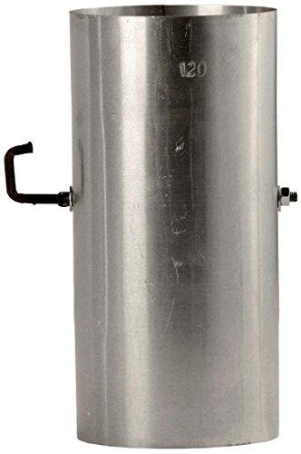 Bertrams 032010 Ofenrohr 25cm mit Drosselklappe FAL - Stahlblech feueraluminiert, Silber, Ø120mm