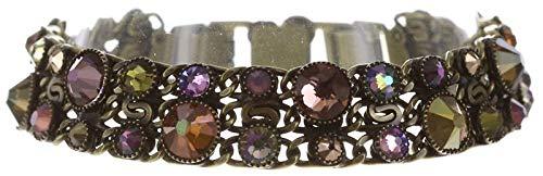 Konplott Waterfalls Armband für Frauen | Exklusiver Designer-Schmuck mit 42 Swarovski-Steinen | Verstellbares Armband | Handgefertigter & limitierter Damen-Schmuck | Modeschmuck für Sie | Braun/Lila