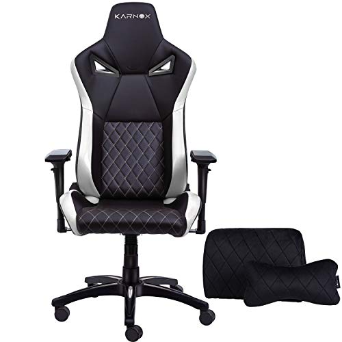 KARNOX TR New Racing Style Gaming Chair with Adjustable Height and Armrests, Ergonomic 155° Reclining, Locking High Back with Integrated Headrest (White) chairs Dining Features Game Kitchen Video