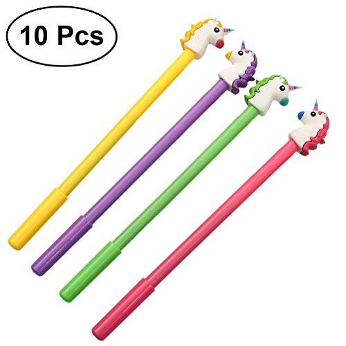 10 bolígrafos de tinta de gel de unicornio de ToyMYTOY creativos para dibujos animados en la oficina, escuela, suministros de regalo para el día de los niños (color al azar)