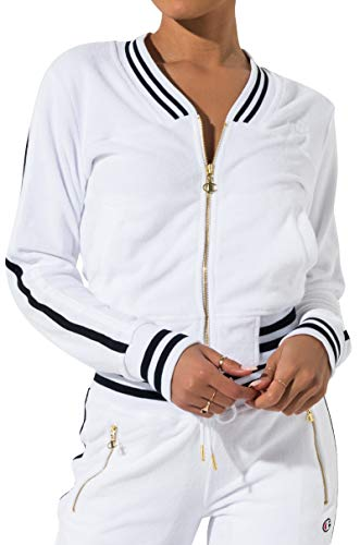Champion Women's Vintage Terry Athetic Stripe Cuffed Zip Warm Up Track Jacket
