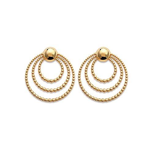 Line.bijoux oorbellen, meerdere cirkels, bollen, verguld 750/000, 10 jaar garantie