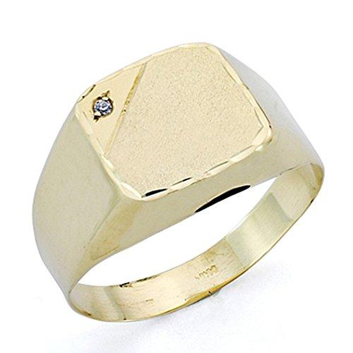 Sello oro 18k caballero circonita hueco forrado 13x12 mm. grabación - Personalizable - GRABACIÓN INCLUIDA EN EL PRECIO