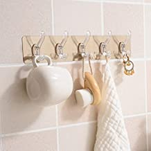 Deetto Self Adhesive No Drills Wall/Rail/Kitchen/Bathroom Strong Sticky Towel Hanger Hook (5 Hooks, 44 x 8cm | Multicolour)