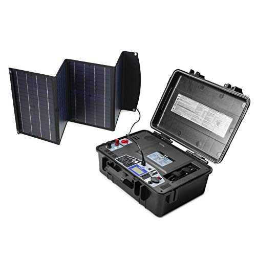 Wagan EL8822 Solar e Power generator Portable Solar Power Generator with 800W AC Power Inverter + 60W Solar Panel w/ USB Power Station Ports and AC/DC Outlets for Camping Emergency Outdoor Black