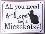 KMC Austria Design Cartel de chapa vintage Shabby Style como cuadro de 35 x 26 cm con texto 'All You Need is Love and a Miezekatze!