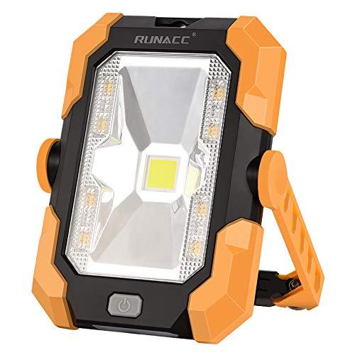 RUNACC Led Baustrahler Akku Solar Camping Licht Arbeitsleuchte USB Wiederaufladbares Tragbares Wasserdichter Solarenergie LED Strahler Akku Flutlicht Ständer-Arbeitslicht mit 360° Drehung, 4 Modi