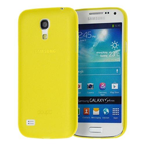 doupi UltraSlim Custodia per Samsung Galaxy S4 Mini, Satinato fine Piuma Facile Mat Semi Trasparente Cover, Giallo