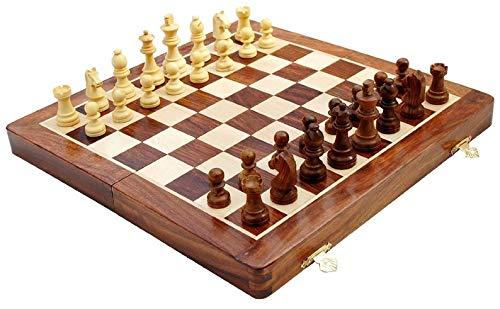 Metallic India - Juego de Tablero de ajedrez magnético Plegable de 25,4 cm