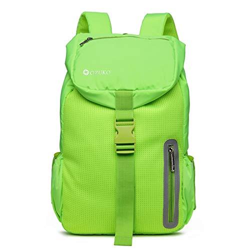 Teyun Diseño Ligero Mochila de Viaje de excursión al Aire Libre portátil Casual Nylon Resistente al Agua (Color : Green)