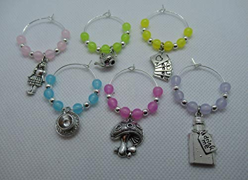 Set of 6 alice in wonderland wine glass charms with gift card. A great gift